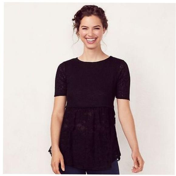 1d4e6847fdbfe6 Lauren Conrad Empire Waist Knit Lace Top
